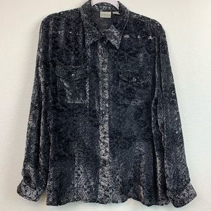 Chico's size 2 sheer button down top Large